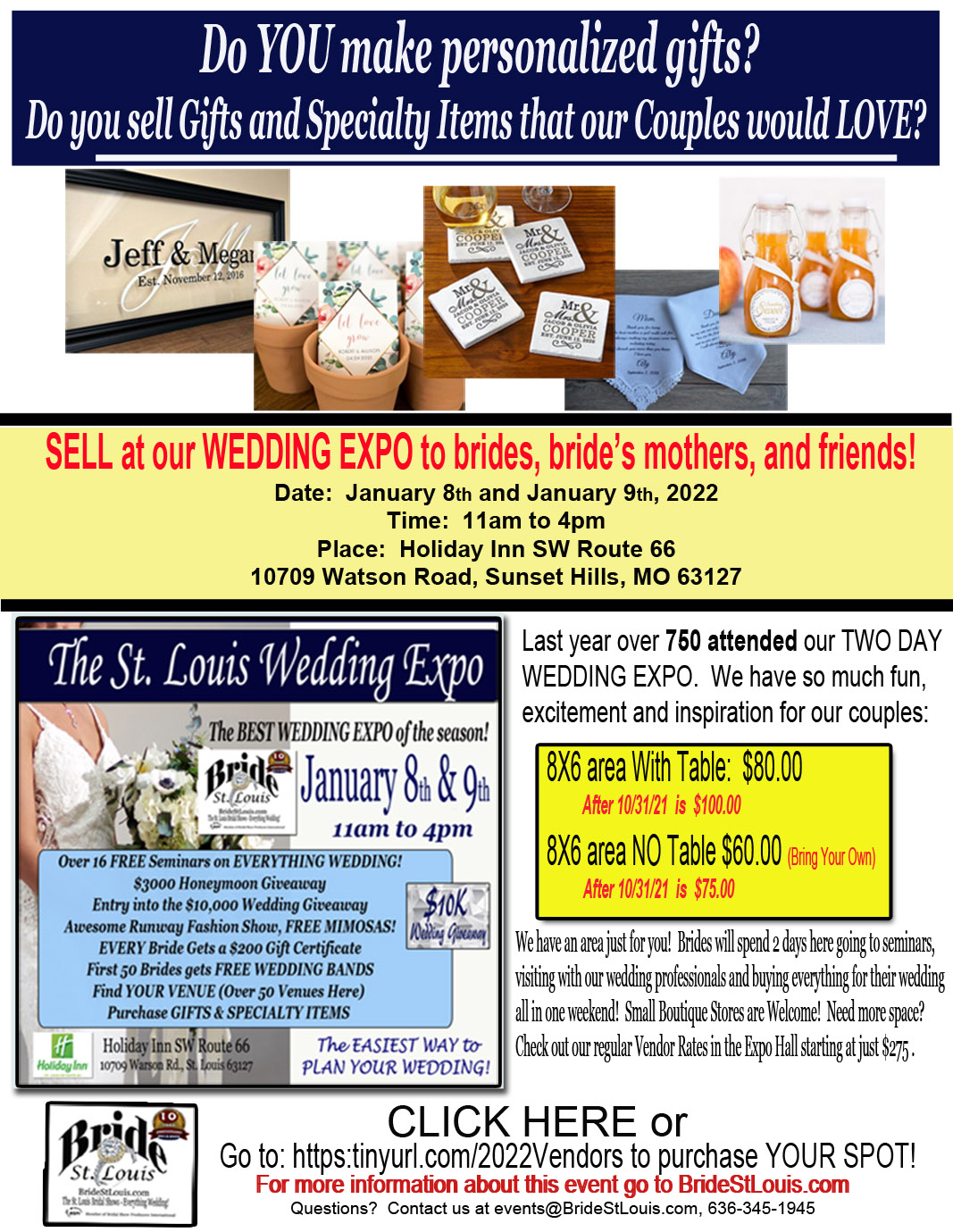 Craft Room & Specialty Gifts for Wedding Expo January 8th and January 9th 2022 at The St. Louis Bridal Show by BrideStLouis